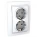 Цены на Электрическая розетка 2 гнезда литая с заземлением со шторками винтовой зажим Schneider Electric UNICA белая MGU23.067.18D