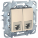 Цены на Компьютерная розетка с полем для надписи Schneider Electric UNICA бежевая MGU5.2424.25ZD