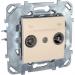 Цены на Телевизионная розетка проходная TV - FM Schneider Electric UNICA бежевая MGU5.453.25ZD
