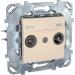 Цены на Телевизионная розетка TV - FM - SAТ оконечная Schneider Electric UNICA бежевая MGU5.455.25ZD