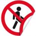 """Цены на Запрещающая двухсторонняя наклейка """"Проход запрещен"""" Наклейка 150 мм (Проход запрещен двухсторонняя) Используется перед входом в помещения,   зоны,   участки и другие нежелательные или опасные для пребывания территории;  С одной из сторон нанесен клеевой слой"""